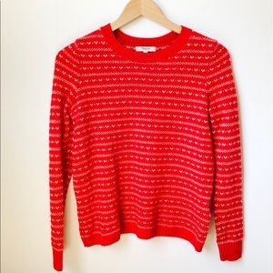 Madewell Red Nordic Print Crew Neck Sweater S